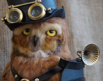 OOAK Steampunk Owl, Needle Felted Owl, Steampunk Companion