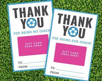Soccer Coach Gift Card Holder - Printable Thank You Gift Card Holder - Instant Download - Printable 4x6 PDF - Turquoise Soccer Team