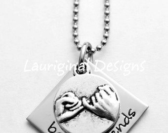 Best Friend necklace - Pinky Swear Necklace - Friend necklace - Any wording that fits!