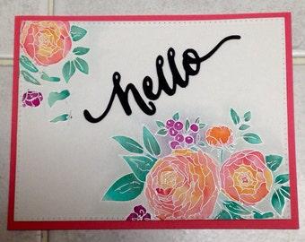 Hello Watercolor Card