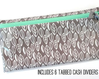 Cash organizer for Dave Ramsey budget | 6 wallet dividers | gray leaves laminated cotton