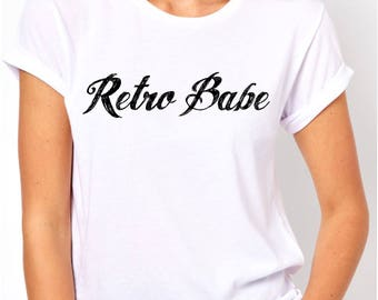 Vintage Inspired Retro Babe Logo T Shirt