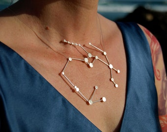 Sagittarius Zodiac Constellation Sterling Silver Necklace on Rubber Cord