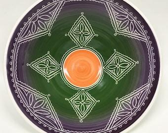 """8 3/4"""" Purple Green Orange Porcelain Carved Serving Bowl"""