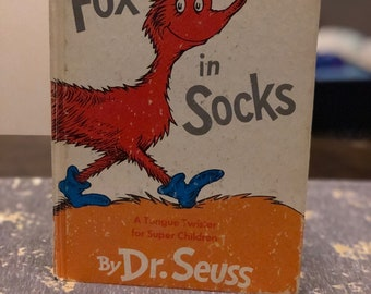 1965 First Edition Dr Seuss Fox in Socks vintage childrens book