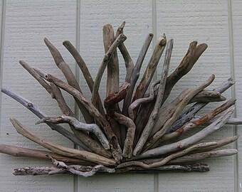 Driftwood Wall Sculpture Outdoor Natural Driftwood Beach Decor Nautical Wall Decor Dormer Sunburst