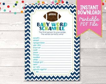 Football Baby Word Scramble Instant Download Boys Baby Shower Game Printable PDF