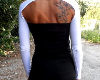 YOGA SLEEVES Festival Tops 2018 Shrugs Arm Warmers Sleeves Long Sleeves Long Tattoo Covers Shrug Open Back In White Bolero Fitted Bolero