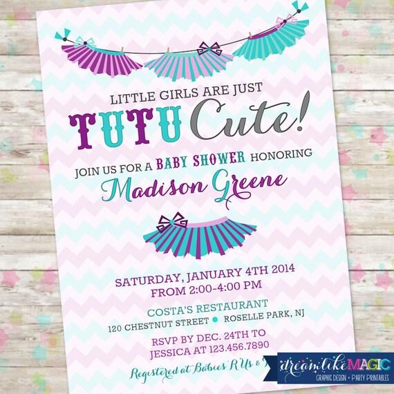 Tutu baby shower invitation baby girl invite tutu cute baby filmwisefo