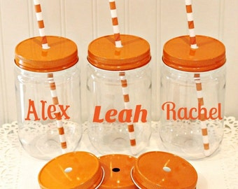 Custom Plastic Mason Jars, Set of 8 Personalized Plastic Mason Jars, Wedding Favors, Birthday Favors, Bridal Shower Favors, Bach Party