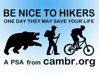 Be Nice To Hikers - Mountain Biking Decal
