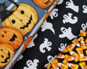 Halloween Fabric, Packed Candy Corn, Ghosts or Pumpkin Stares Halloween Fabric