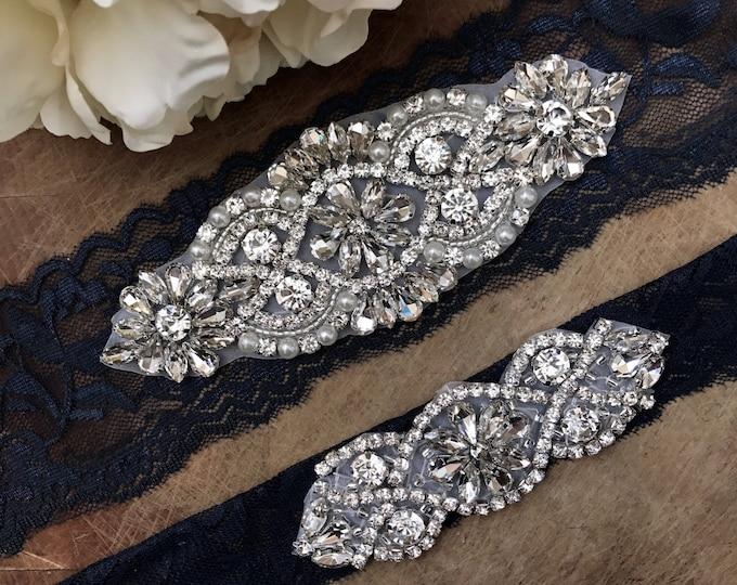 Navy Wedding Garter Set NO SLIP grip vintage rhinestones, pearl and rhinestone garter set, Something Blue