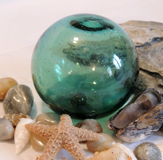 """Vintage 13"""" In Circumference Japanese GLASS FISHING FLOAT.. Rare Emerald  Green (#19)"""