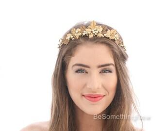 Gold Leaf Wedding Crown Rustic Laurel Crown of Metal Leaves and Pearls Bridal Headpiece Gold Wedding Headband Rustic Gold Tiara