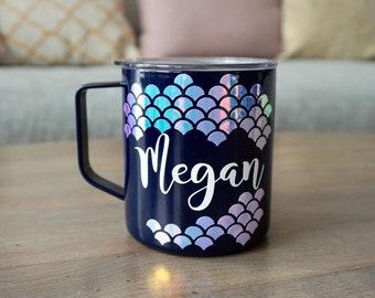 Personalized Mermaid Camp Mug - 14 oz | Camp Mugs | Mermaid Mug | Mermaid Gift | Mermaid Cup | Glamping Mug | Mermaid Gifts