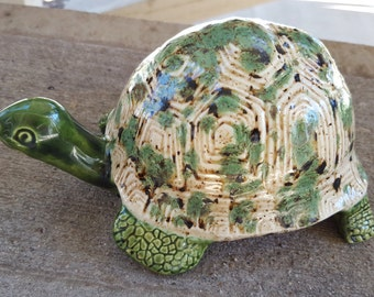 Turtle with Tan Crystal Glaze Shell, Tortoise, Figurine, Garden Decor, Home Decor