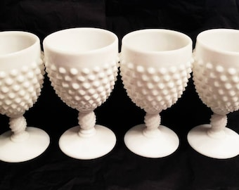 Milk Glass Goblets in the Hobnail Pattern by Fenton