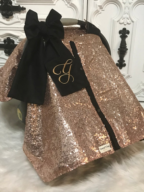 Rose Gold and Black  car seat canopy, bow and name / carseat cover / carseat canopy / ooak / sequin / infant car seat cover / gold / sparkle