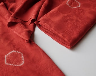 Red Silk Kimono Fabric unused bolt by the yard Dusty Red with Shibori and Floral Brocade Hexagon woven pattern 100% silk OFF the bolt
