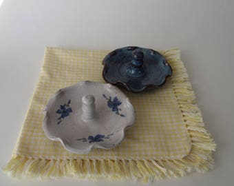 Seagrove Pottery Ring Dish, Two 2 Vintage 1996 Owen's Pottery Jewelry Trinket Dish