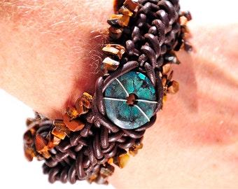 Leather Bracelet, Healing Energy Jewelry, Tibetan Turquoise Wrist cuff, Banes Cuff, Woven Leather Statement Jewelry