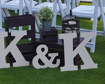 Large wood letters etsy large wooden letters for weddings large wood letters ampersand sign guest book alternative spiritdancerdesigns Gallery