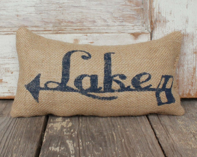 To the Lake -  Burlap Doorstop - Lake Cabin Decor  - Arrow - Lake Cottage Decor - Lake House Decor - Door Stop