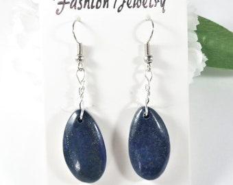 Lapis Earrings, Lapis Lazuli Earrings, Blue Lapis Drop Earrings, Blue Gemstone Earrings, Natural Stones Teardrop Earrings, Bohemian Earrings