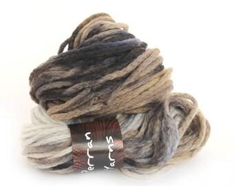 Superchunky merino wool black brown grey bulky chainette yarn, Perran Yarns Storm Cloud crochet variegated skein hank, free knitting pattern