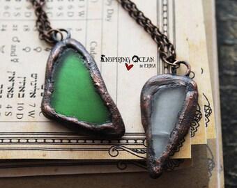 Natural beach seaglass electroformed copper necklace pendant