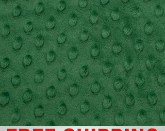 """Minky Fabric Dimple Dots Emerald Green. 60"""" Wide. 100% Polyester. Style#12502. Free Shipping."""