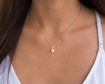Pearl Pendant, Pearl Drop Necklace, Gold, Silver, Dainty Pearl Pendant Necklace, Sterling Silver, 14k Gold Fill Chain, Minimal Necklace
