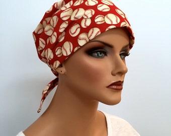 Sandra Scarf, A Women's Surgical Scrub Cap, Cancer Headwear, Chemo Head Scarf, Alopecia Hat, Head Wrap, Head Cover, Hair Loss - Baseball