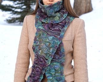 Ocean Waves Long scarf in teal blue, purple, green, brown hand painted merino, READY to SHIP, OOAK, merino wool yarn,