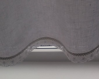 White Linen Curtain, Linen Kitchen Curtain, Romantic Cafe Curtain with White Lace, French Country kitchen Curtain