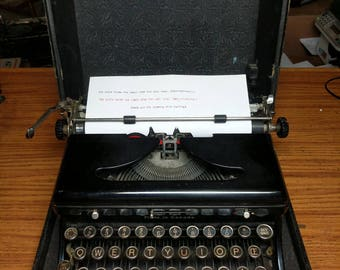 1935 Royal model O portable typewriter with case and key with rare ligature keys!