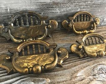 """4 Vintage Antique Brass Pulls Furniture Cabinet Drawer Pulls 3"""" On Center,  2 Large 2 Smaller Headboard Design"""