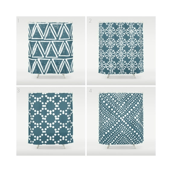 Teal Shower Curtain - Geometric Shower Curtain - Modern Shower Curtain - White Shower Curtain - Triangle Shower Curtain - Teal and White