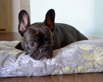 Gray cotton durable dog bed covers with square edge, dog bed, dog bed pillow, custom pet bed, boxed, zipper closure, machine washable