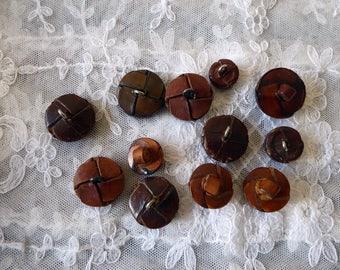12 vintage leather coat buttons