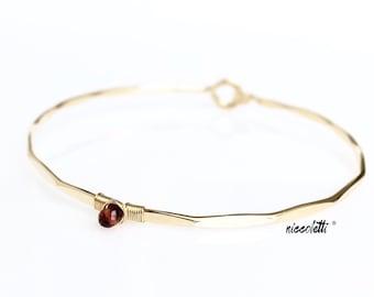 Genuine Garnet Bracelet / 14k Yellow or Rose Gold or Sterling Bangle /January Birthstone Mothers Jewelry / Red Gemstone Bracelet Gift