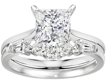 Elegant Slightly Curved .45ct Round & Baguette Cubic Zirconia Sterling Silver Wedding Ring with 1.0ct Round CZ Sterling Silver Solitaire