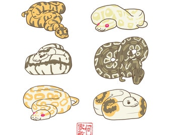 Reptile sticker packs, Leopard gecko, Crested Gecko, Ball Python