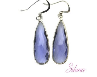 Dangle earrings drop sterling silver 925 and iolite