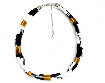SOOZ statement thread hardware necklace / African inspired afrofuturistic tribal necklace / Thread bolt necklace / Gold luxury jewelry