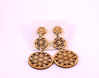 Flower of Life Wooden Dangle Post Earrings - Sacred Geometry Three Part Hanging Sustainable Wood Stud Earrings