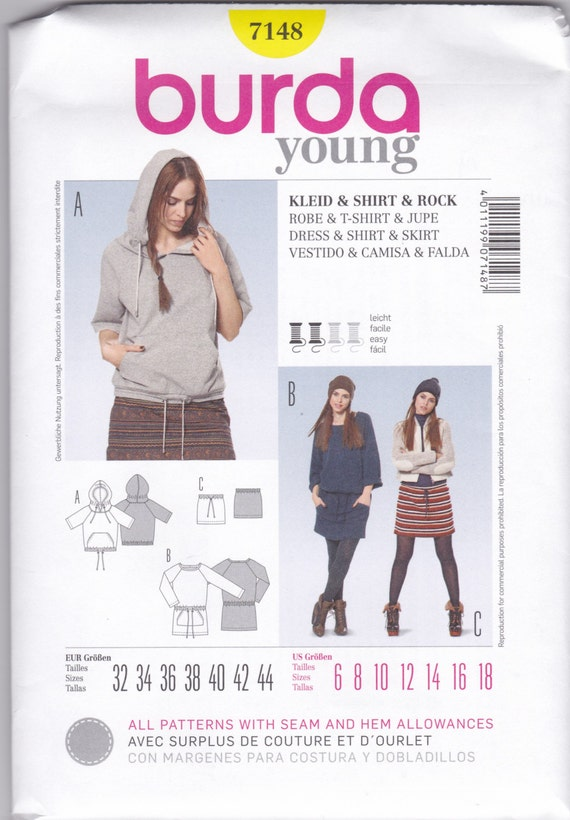 7148 Burda Young Dress Shirt and Skirt Sewing Pattern Sizes