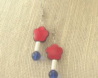 Flower Bead Patriotic Earrings - Hand-made