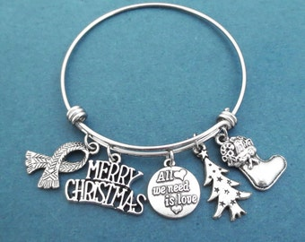 All we need is love, MERRY CHRISTMAS, Tree, Christmas socks, Muffler, Silver, Bangle, Bracelet, Love, Christmas, Gift, Jewelry